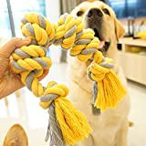 Dog Rope Chew Toy for Large Medium Dogs,Durable Cotton 6 Knots Rope Tug for Aggressive Chewers Teeth Cleaning Interactive Paly