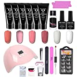 Poly Nails Gel Poly Nail Gel Kit6 Colores 15ml Nail Extension Gel Kit de manicura con lámpara UV Cepillo Gel Esmalte de uñas Set para manicura de uñas, Bricolaje en casa