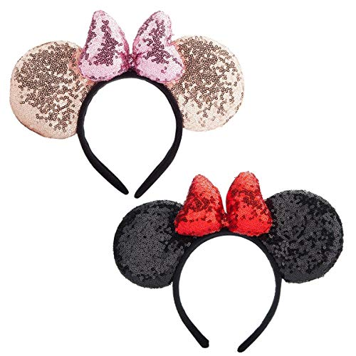 Mouse Ears headband,2pcs Sequin Headband Glitter Hairband for Baby Shower Headwear Halloween Theme Party Decorations (Black&Gold 3D)