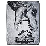 Jurassic World Fleece Throw Blanket - Indominus Rex & Jurassic Park Plush Fleece Throw Blanket (Logo)