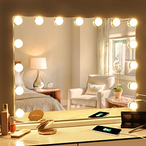 Fenair Vanity Mirror with Lights Hollywood Mirror with 15 LED Dimmable...