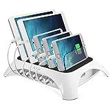 ACTOPP Station de Charge Universelle Chargeur Rapide Chargeur Amovible Multi Ports Chargeur USB Station d'accueil Organisateur Câble Bureau Multichargeur pour iPhone Samsung Smartphone iPad Tablette