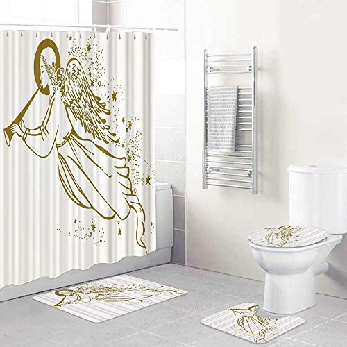 WINCAN Shower Curtain Sets with Non-Slip Rugs,Toilet Lid Cover and Bath Mat,Christmas Gold Angel The Trumpet Flying in Clouds Music,4 Pcs Shower Curtain Set Waterproof Bath Curtains with Hooks