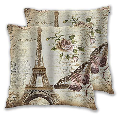 DECISAIYA 2 Funda De Almohada,Torre Eiffel de época,Decoración Cojines Sala De Estar Sofás para Camas Sillas Dormitorio Jardín Coche,50x50cm
