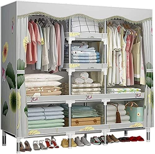 Armario Cuarto portátil Ropa portátil Closet Ropa de Almacenamiento Organizador Colgante Ropa de Vestir para Dormitorio UOMUN (Color : Hibiscus, Size : 165 x 45 x 170cm)