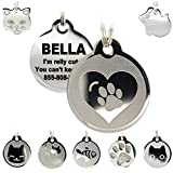 Stainless Steel Cat ID Tags - Engraved Personalized Cat Tags Includes up to 4 Lines of Text with Round Heart Shape