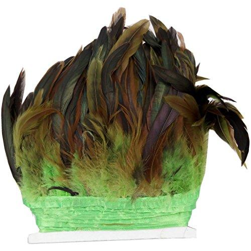 ERGEOB® Echte Hahnenfedern auf 200cm Stoffstreifen in Grün - 13 Farbvarianten - Ideal für Fasching, Karneval, Halloween, Basteln, Bekleidung, Kostüme.