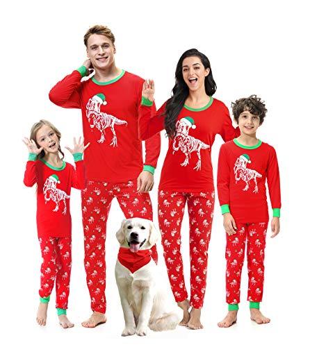 Benaive Matching Family Christmas Pajamas Set Boys Girls Holiday Pjs for Womens Mens Sleepwear (Red, DinoSkeleton, Men-Large)