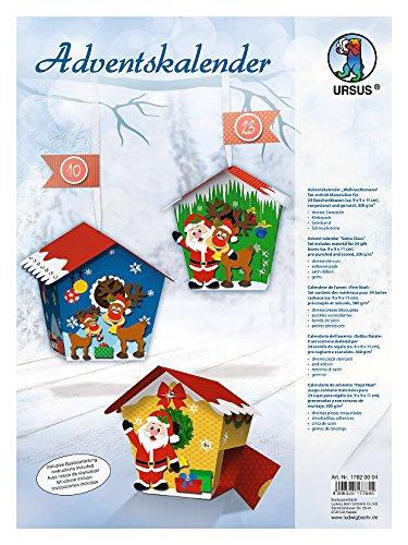 Ursus 17820004 Adventskalender Weihnachtsmann, Bastelset für 24 Geschenkboxen, bunt