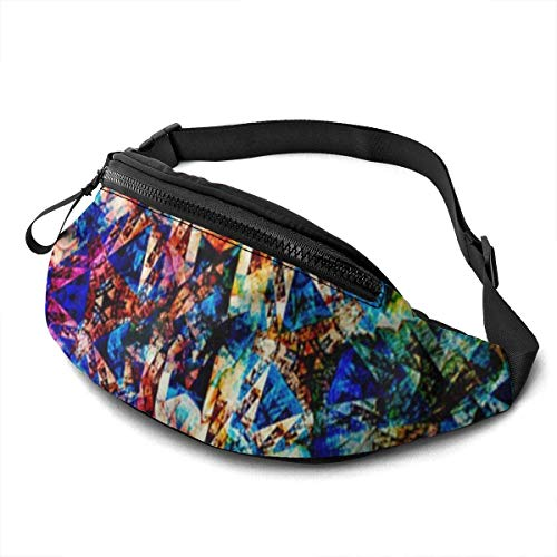 XCNGG Bolso de cintura corriente bolso de cintura de ocio bolso de cintura bolso de cintura de moda Abstract Ethnic Flower Waist Bag Pack Sturdy Zippers Running Belt Large Capacity Waist Pouch Bag for