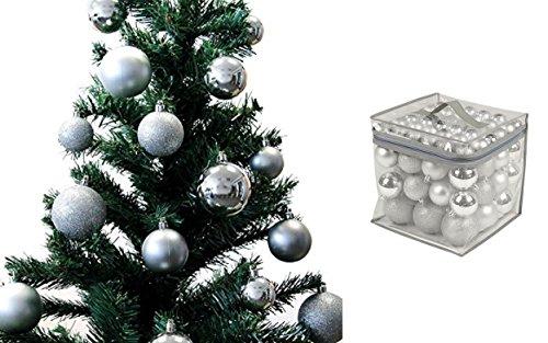 Lot 77 boules de Noël 4/6/8cm - Noel Décoration Sapin - Argent - 311