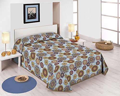 SABANALIA - Colcha Estampada Mandala (Disponible en Varios tamaños) - Cama 135-230 x 280