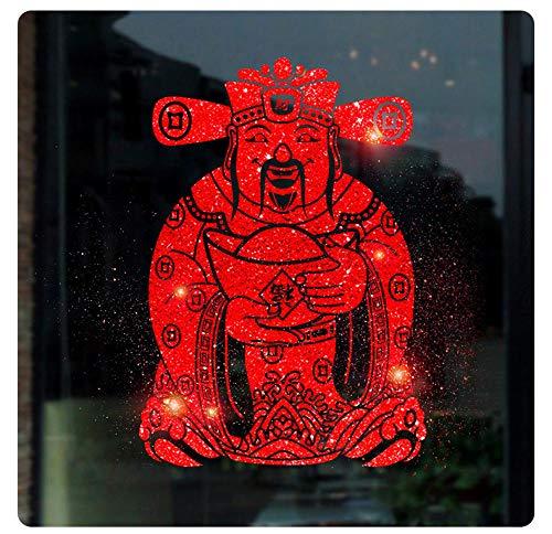 SUNER-EUR Nieuwjaar muurstickers goud poeder God van rijkdom decoratieve stickers raamstickers