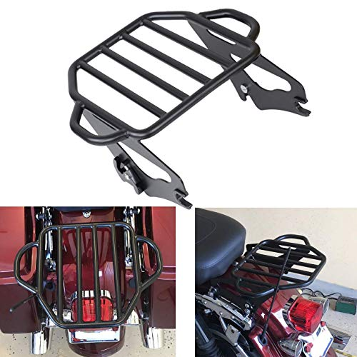 AUFER Black Detachable Adjustable Two Up Tour Pak Luggage Rack Mounting Trunk Rack Compatible For Touring Electra Glide Road Glide Road King Street Glide 2009-2020