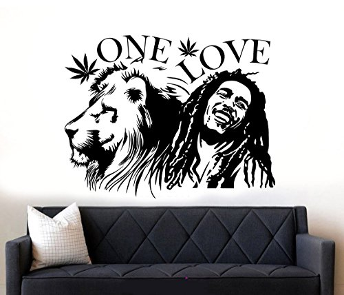 D&C decals Bob Marley Lion Zion One Love Marihuana Reggae Rasta Wandtattoo