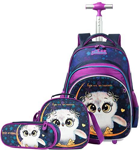 HTgroce Eule Schulranzen Rucksack Trolley mit 2 Rollen für Kinder Mädchen,Nylon,Kinder Schultrolley Geeignet für Schule und Reise,Mit Essensbeutel und Federmäppchen,Grün
