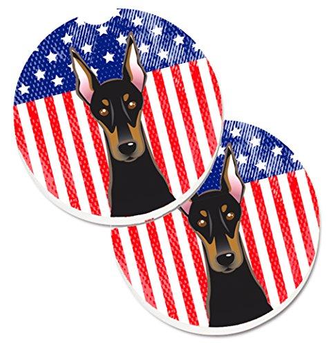 Caroline 's Treasures American Flagge und Rottweiler, Set von 2Tasse Halterung Auto Untersetzer bb2175carc, 2,56, multicolor