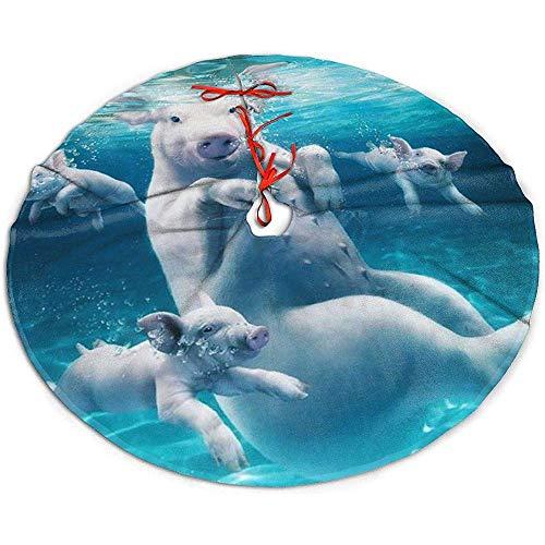 Egoa Weihnachtsbaumdecke Schwimmende Schweine EIN Feiner Dekorativer Weihnachtsbaum-Rock-Baum-Rock-Feiertags-Partyweihnachtsbaumrock 91cm