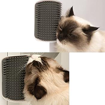 EASE Brosse de toilettage Cat Self-Groomer avec Coin de cataire-Montage en Coin Peigne de toilettage de Massage-Aide à Prévenir Les Boules de Poils et Les Contrôles Shedding-Safe & Comfortable(Gris)