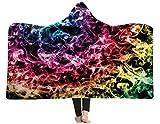 3D Colorful Smoke Printed Hooded Blanket Wearable Blanket Throw Plush Blanket Hood Poncho Men Women Throw Sherpa Fleece Soft Winter Novelty Blanket for Bed Home Sofa 60X80 Inch