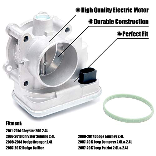 FEXON Electronic Throttle Body for Chrysler 200, Sebring, Dodge Avenger, Caliber, Journey, Jeep Compass and Patriot, Engine 2.0/2.4, Years 2007-2017, Replaces 4891735AC 4891735AD 977-025
