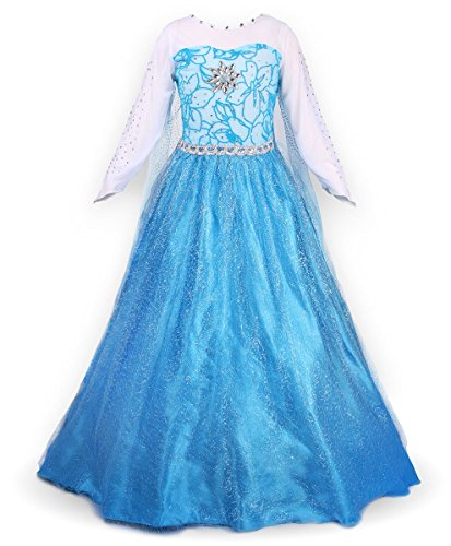 JerrisApparel Snow Party Dress Queen Costume Princess Cosplay Dress Up (7-8, Blue)