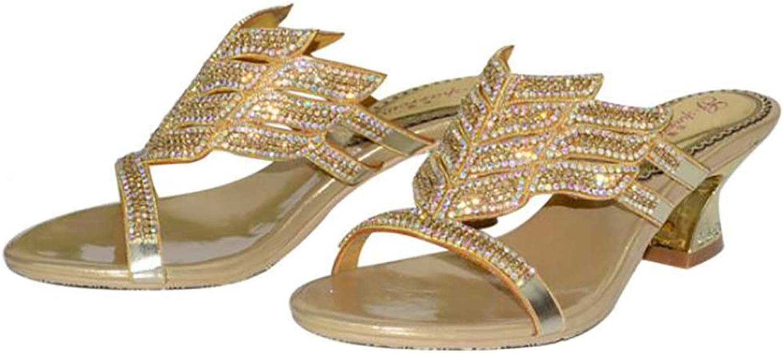 Damen Kristall Outdoor Strand Sommer Keilabsatz Sandalen Flip Flops