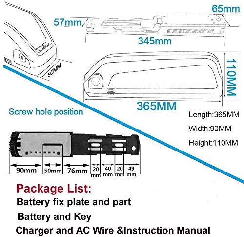 Batteria agli ioni di Litio per Bici elettrica da 36 V - Batteria al Litio per Bici elettrica da 500 W 350 W 250 W Biccycle elettrica 15 Ah