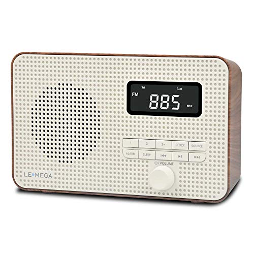 LEMEGA DR2 Portable AM/FM Digital Radio,Wireless Bluetooth, Dual Alarms Clock,Kitchen/Sleep Timer,20 Preset Stations, Headphones Output,Battery and USB Powered, Portable Radio - Walnut
