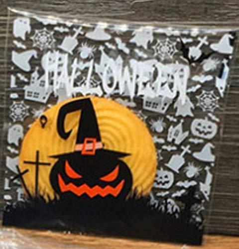 100 stuks/set nieuwe gele korfistüten voor Halloween-tassen van transparant kunststof voor snoepjes, voor het knutselen van verjaardagstassen, handtassen, 8 stuks
