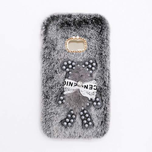 YHY Funda Teléfono Pearl Bear Plush para Samsung Galaxy A5 Plus Carcasa De Felpa De Silicona Suave y Elegante La Piel Gris Oscuro