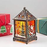 Wankd Lámpara de mesa, decoración navideña, lámpara LED con iluminación, lámpara de mesa con efecto 3D, funciona con pilas y electricidad, bronce (6,5 x 6,5 x 12,5 cm, Papá Noel)