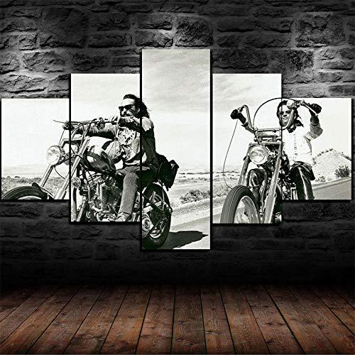 Impresión En Lienzo 5 Piezas Cuadro Sobre Lienzo,5 Piezas Cuadro En Lienzo,5 Piezas Lienzo Decorativo,5 Piezas Lienzo Pintura Mural,Regalo,Decor Easy Rider Dennis Hopper, Motociclista Hells Angels