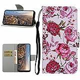 Miagon Cover PU per Xiaomi Mi 11,Custodia Portafoglio Flip Caso Pelle Porta Carte Chiusura Magnetica Funzione Stand Slot,Rosa Fiore