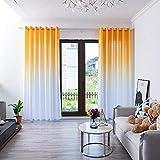 BOYOUTH Cortinas semiopacas con ojales, cortinas de color degradado para dormitorio, sala de estar, amarillo dorado, 122 x 250 cm, 2 paneles