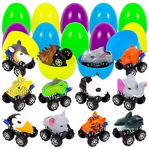 ThinkMax 12 Piezas Huevos de Pascua Lleno de Coches de tracción Animal para la búsqueda de Huevos de Pascua, Regalo de Pascua para niños