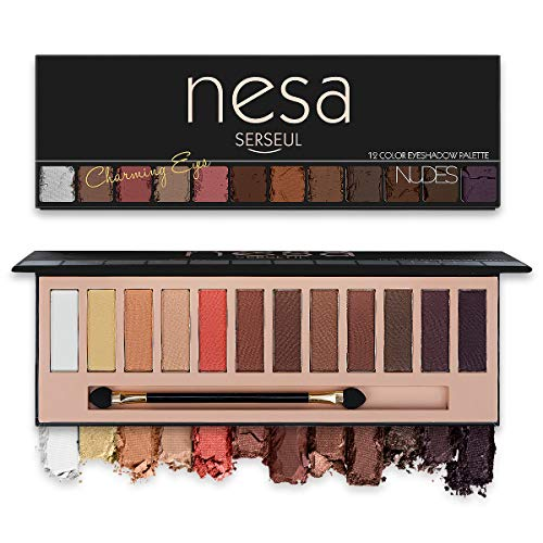 Serseul Makeup Eyeshadow Palette 11 Matte 1 Shimmer 12 Colors Highly Pigmented Eye Makeup Creamy Texture Blendable Long Lasting Cruelty Free Nude A