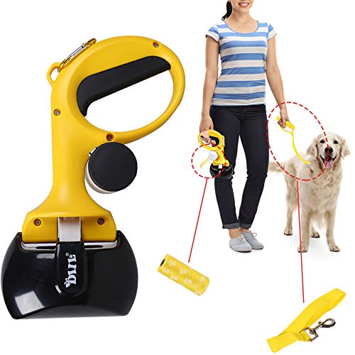 Hptmus Pooper Scooper Dog Pooper Scooper Pet Pooper Scooper for Large and Small Dogs Jaw Pooper Scooper with 15Pcs Garbage Bags, 1Pc Dog Leash(Yellow)