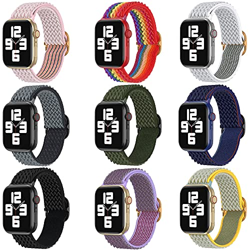 9 Pack Stretchy Solo Loop Strap Compatible with Apple Watch Band 38mm 40mm 42mm 44mm iWatch Series 6 5 SE 4 3 2 1 Velcro Women's Men's Elastic Knitting Strap Soft Adjustable Lightweight Replacement Wristbands
