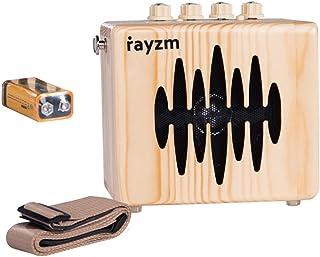 Rayzm Amplificador Combo para Guitarra Eléctrica, Mini Amp Portátil con Baterías de 5 Watt Con Correa Para Colgar, Adaptador de Corriente/Aux-in/Jacks para Auriculares