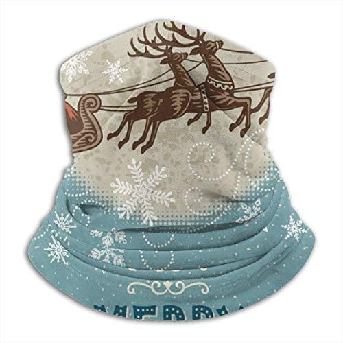 Trista Bauer Pasamontañas Fondo de Navidad vintage con Santa y renos con capucha pasamontañas con estilo