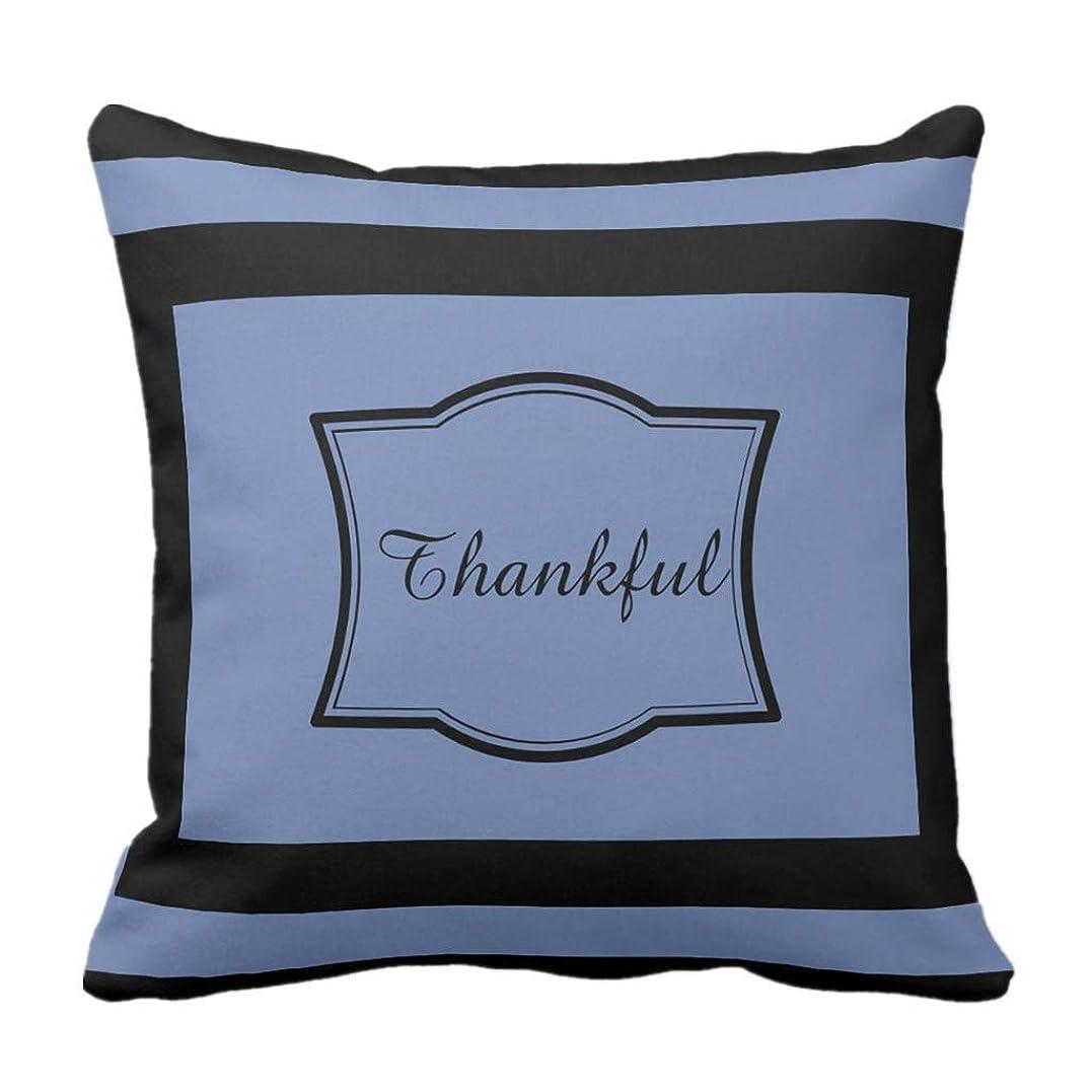 仕事に行く予防接種するダブルQrriy Viki Cotton Linen Throw Pillow Cover Navy Blue Thankful Thanksgiving Day Decorative Pillow Case Home Decor Square 20 Inch Pillowcase 枕,抱き枕カバー,枕カバ,実用的である