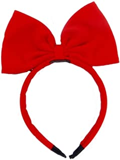 Girls Sweet Pure Color Bow Headbands Party Modelling Headdress For Christmas Gift (Red)