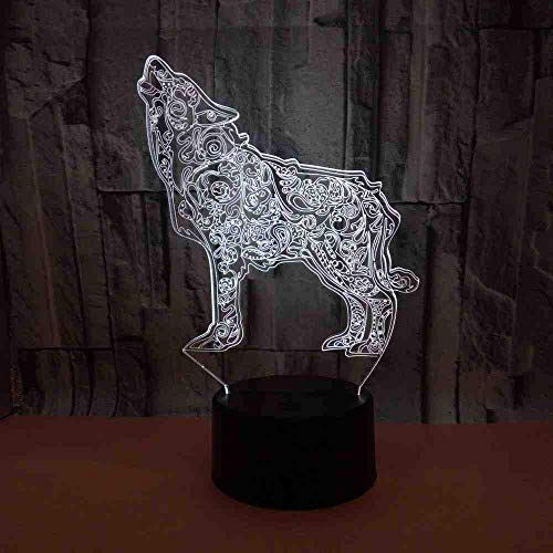 New Wolf 3D Acrylic Lamp 3D Visual Small Desk Lamp Deco Table Lamps for Living Room Night Light