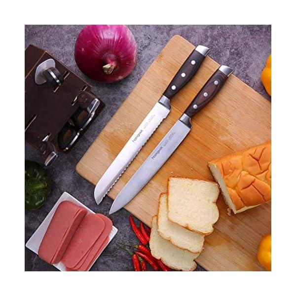 homgeek Cuchillo de Cocina Profesional, Juego Cuchillos Cocina Hecho de Acero Inoxidable 1.4116 Alemán, Incluye Tijeras…