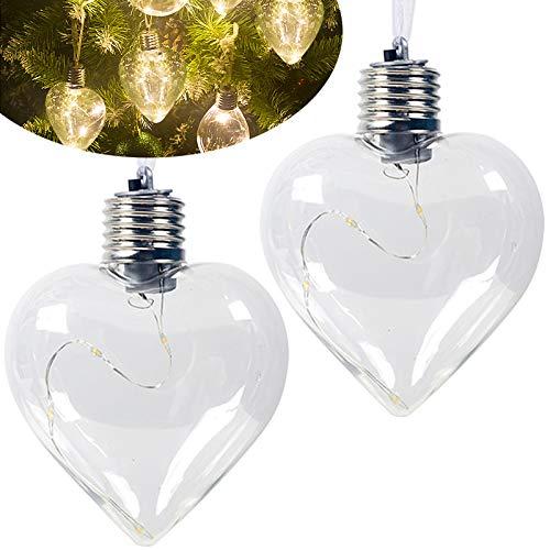 FEIGO, 2 lampadine a LED in PET a forma di cuore, luce decorativa da appendere, a batteria, con catena luminosa a LED, per casa, bar, feste, Natale, 11,8 x 8 cm