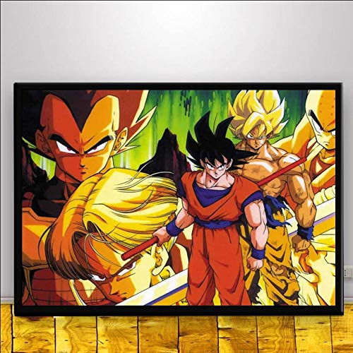 GUOYXUAN Lienzo de Pintura-Dragon Ball Z Goku Anime japonés Manga Ultra Instinct Poster Art Canvas Painting Wall Painting Living Room Decoración sin Marco 50 * 70cm