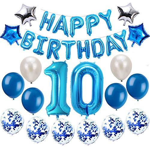 Oumezon 10 Geburtstag Dekoration Blau, 10. Geburtstag deko für Mädchen Jungen Happy Birthday Girlande Banner Folienballon Konfetti Luftballons Deko Geburtstag Party Anzahl Ballons
