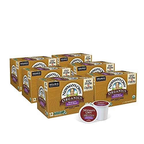 Newman's Own Organics French Roast, Single-Serve Keurig K-Cup Pods, Dark Roast Coffee Pods, 72 Count