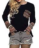 POGTMM Women's Long Sleeve Black Oversized Shirts Top (L, Black)